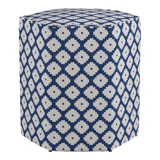 Hexagonal Ottoman in Navy Ziggurat For Sale