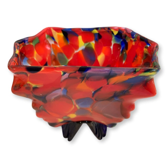 Glass Vintage Kralik Czech Bohemian Art Glass Wing Footed Dish For Sale - Image 7 of 7