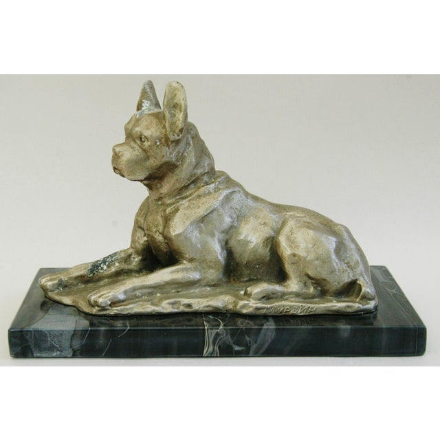 1950's Cast Metal Dog on Marble Base - Image 2 of 10