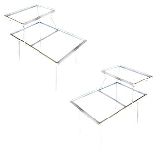 Two-Tier Art Deco Glass Top Outdoor/Patio Side Table Pair by Woodard For Sale