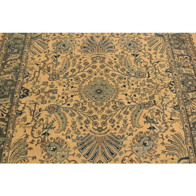 Textile Semi Antique Istanbul Catrina Ivory/Lt. Green Turkish Hand-Knotted Rug -4'2 X 6'1 For Sale - Image 7 of 8