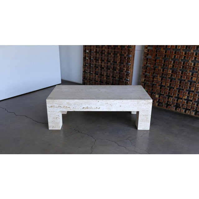 Angelo Mangiarotti Travertine Coffee Table 1980 For Sale - Image 4 of 11