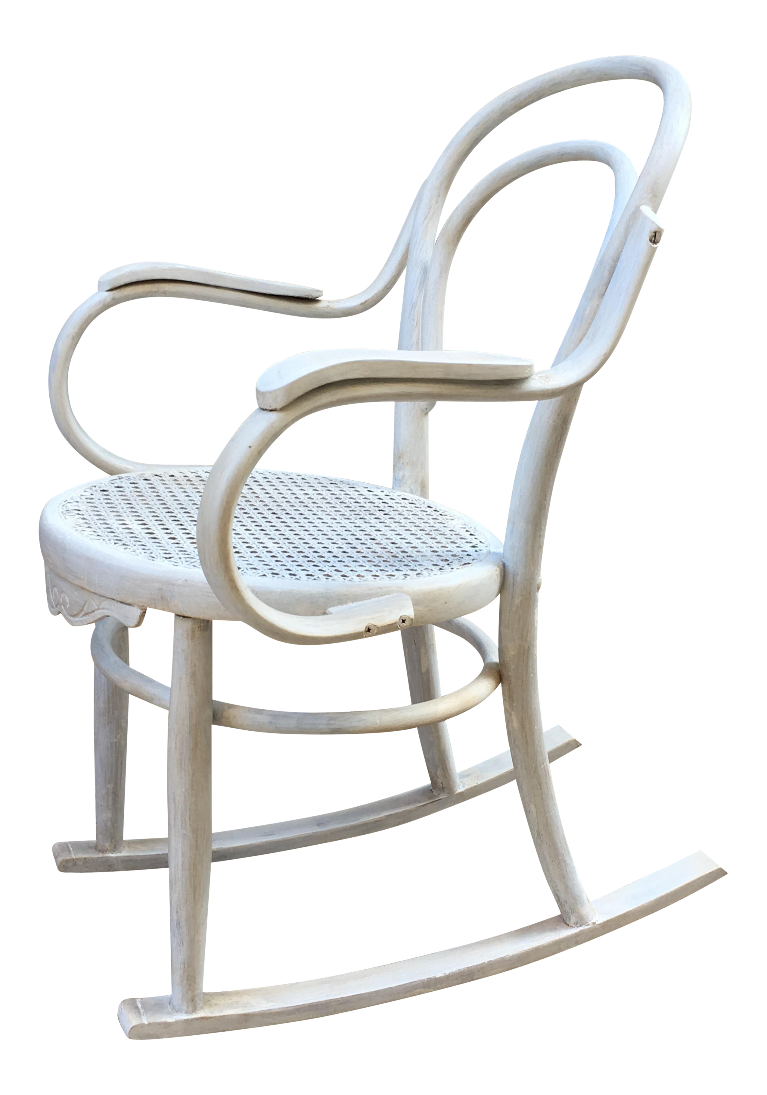 20th Century White Patina Bentwood Rocking Chair In Thonet Style For Sale