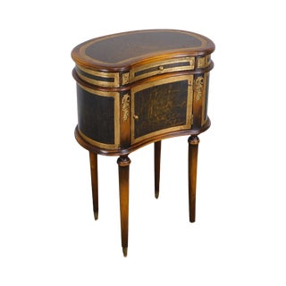 Theodore Alexander Leather Wrapped Kidney Shape One Drawer Stand For Sale