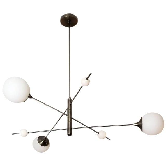 Blueprint Sculptural Enamel, Glass & Bronze Orbital 3-Arm Pendant For Sale