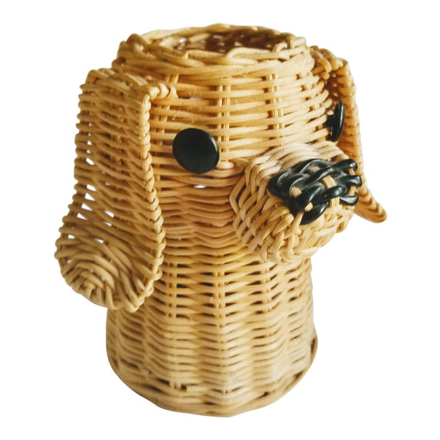 Mid-Century Wicker Dog Desk Pencil Holder For Sale