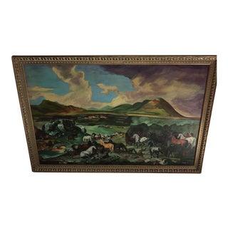 Vintage Landscape Horses Painting For Sale