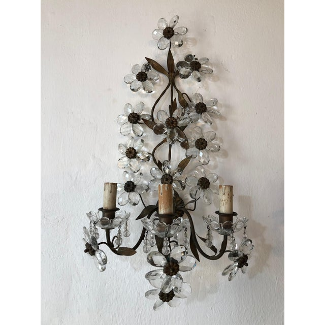Brass Huge Clear Flower Maison Bagues Style Three-Light Sconces For Sale - Image 7 of 10