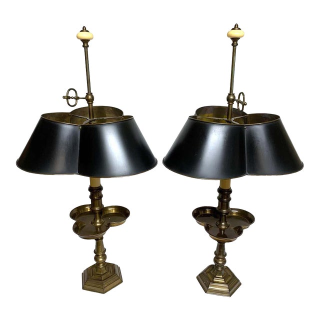 Brass and Tole Clover Bouillotte Lamps, by Chapman - a Pair For Sale
