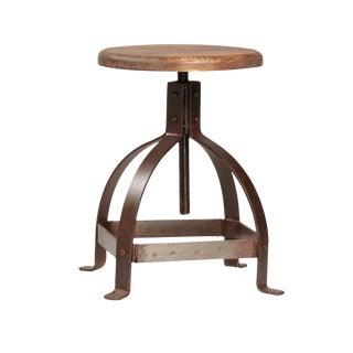Iron & Wood Adjustable Stool For Sale