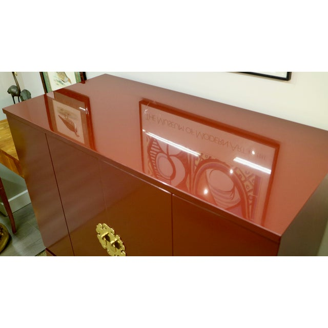 Red Asian Lacquered Bar For Sale - Image 8 of 10