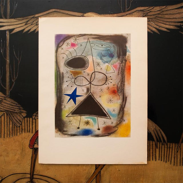 """Abstract 1940s Juan Miró, """"Woman in the Night"""" Original Period Swiss Lithograph For Sale - Image 3 of 8"""