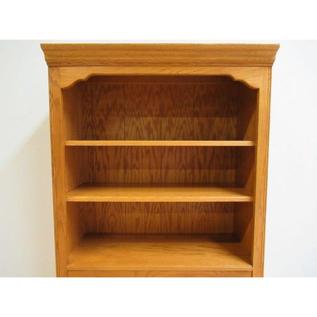 Ethan Allen Chippendale Canterbury Oak Dresser Hutch Top Shelf - Image 5 of 9