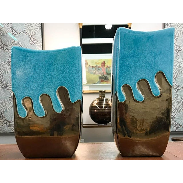 Turquoise & Gold Vases - A Pair - Image 4 of 6