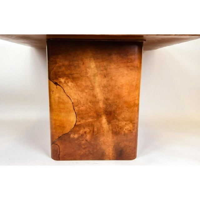 Mid-Century Modern Faux Goatskin Dining Table by Karl Springer. For Sale - Image 3 of 8