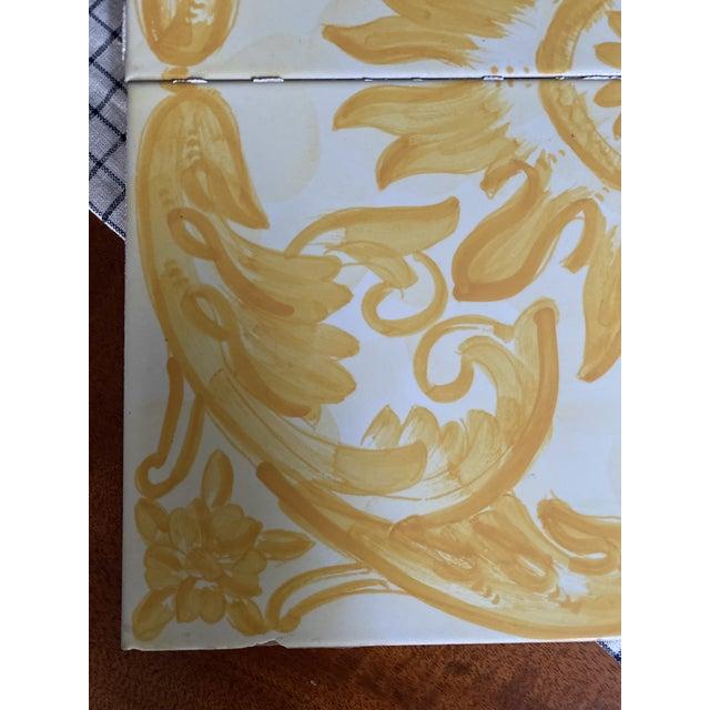 Majolica Vintage Italian Terra-Cotta Hand Painted Glazed Tiles - Set of 4 For Sale - Image 4 of 8