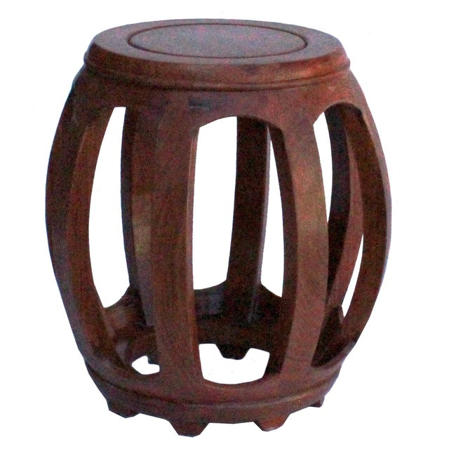 Chinese Oriental Brown Stain Wood Curved Barrel Shape Stool For Sale In San Francisco - Image 6 of 8