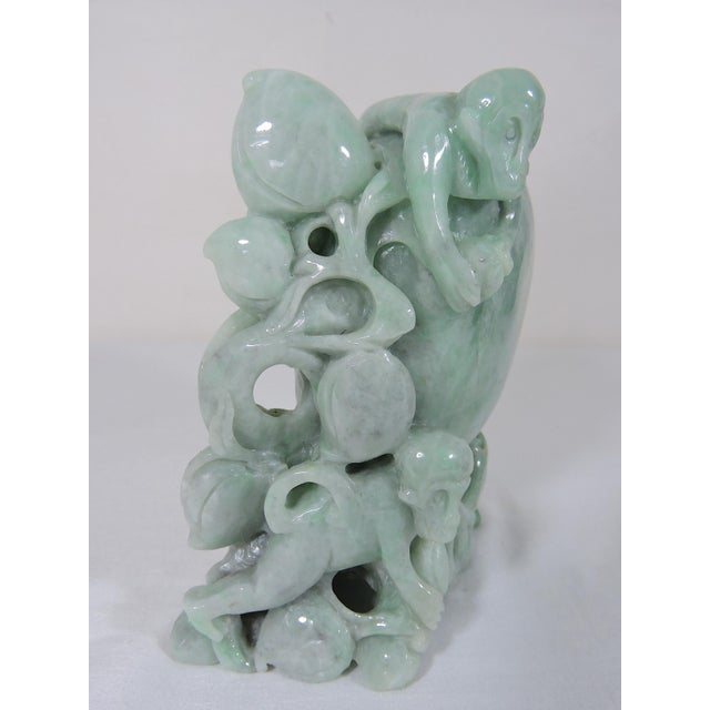 20th Century Chinese Natural Green Jadeite Carving of Peach With Playful Monkeys For Sale - Image 12 of 12