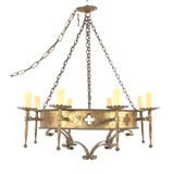 Image of 1960s Italian Renaissance Style Gilt Iron Chandelier For Sale