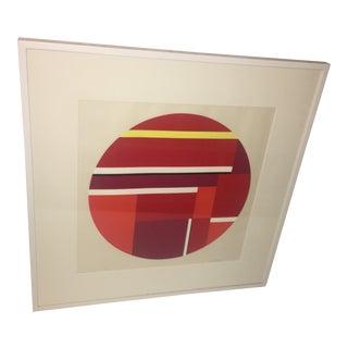 Ilya Bolotowsky Red Tondo Serigraph Print For Sale