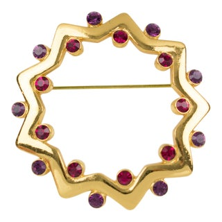Yves Saint Laurent Ysl Pin Brooch Gilt Metal Purple Red Rhinestones For Sale