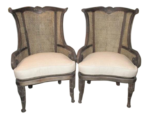 Modern Off White Linen Wingback Chairs French Style Cane And