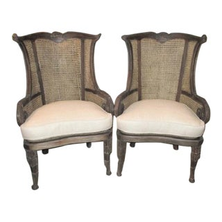 Modern Off White Linen Wingback Chairs French Style Cane and Mahogany Accent Chairs- A Pair For Sale