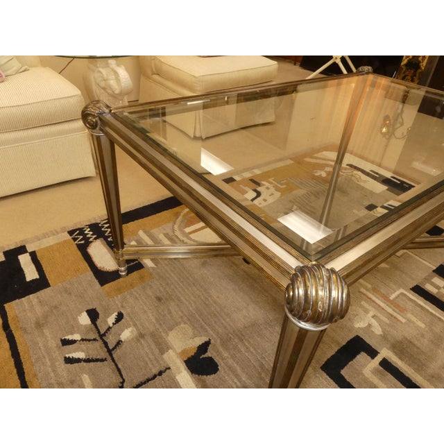 Labarge LaBarge Hollywood Regency Brass & Steel Coffee Table For Sale - Image 4 of 13