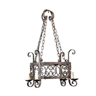 Vintage Wrought Iron Four Light Chandelier