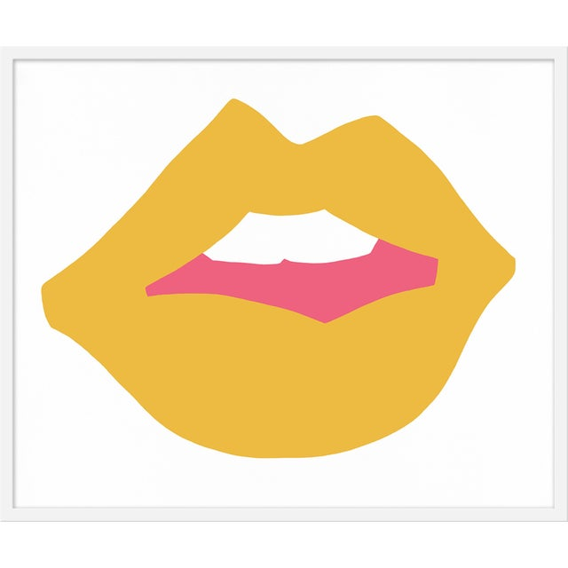 "Contemporary Medium ""Kiss Me (Yellow)"" Print by Angela Chrusciaki Blehm, 37"" X 31"" For Sale - Image 3 of 3"