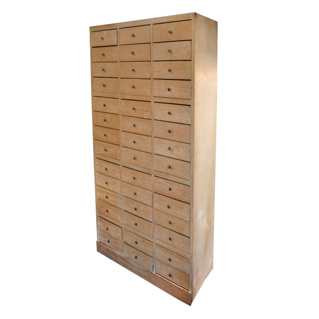 Tall Blonde Wood Cabinet - Image 1 of 6