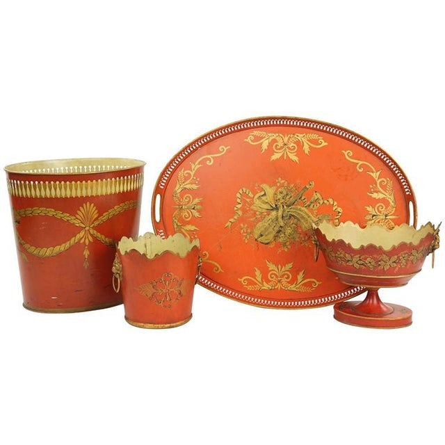 English Traditional Collection of English Tole Items Including Waist Paper, Large Tray, Two Planters For Sale - Image 3 of 4