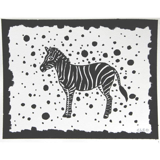Cleo Plowden Leopard Cheetah Black & White Painting by Cleo Plowden For Sale - Image 4 of 5