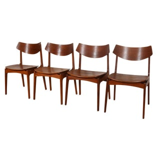 Danish Teak Curved Back Dining Chairs - Set of 4 For Sale