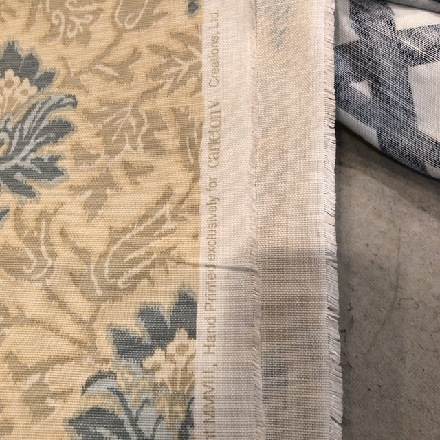 Contemporary Caspian Hand Printed Small Floral Fabric For Sale - Image 3 of 5