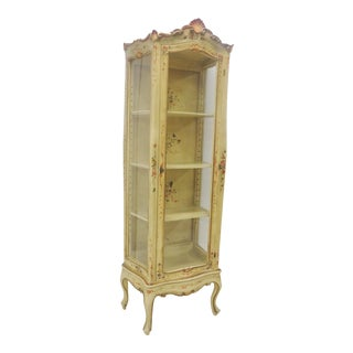 Italian Paint Decorated Floral Curio Cabinet