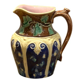 19th Century English Majolica Pitcher With Grape Vine For Sale