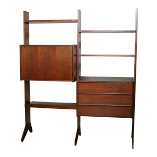 Vintage Danish Modern Wall Unit Desk