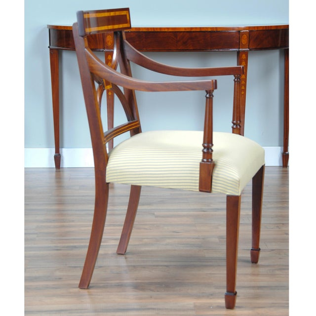 2010s Sheraton Inlaid Mahogany Arm Chairs - A Pair For Sale - Image 5 of 9