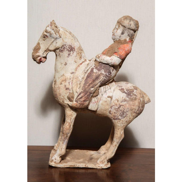 8th Century Tang Dynasty Chinese Terracotta Horse and Rider with Original Paint For Sale In New York - Image 6 of 10