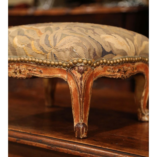 19th Century French Louis XV Carved Gilt Walnut Footstool With Aubusson Tapestry For Sale - Image 4 of 9
