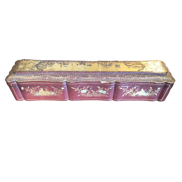 A 19th century Chinese box which most likely held a fan. Beautifully hand painted on the interior with an oriental saying...