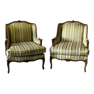 Louis XV Style Walnut Carved Upholstered Bergères - A Pair