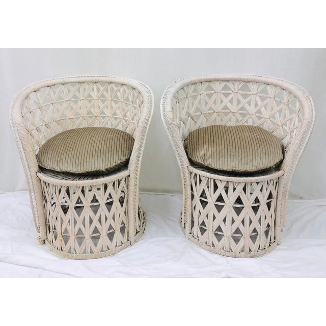 Mid 20th Century Pair Boho Chic White Wicker & Rattan Chairs For Sale - Image 5 of 13