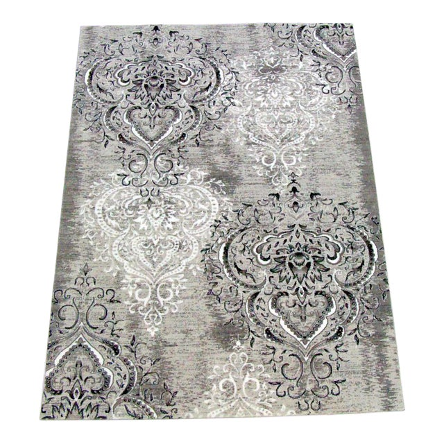 "Damask Gray & White Rug - 5'3"" x 7'7"" - Image 1 of 5"