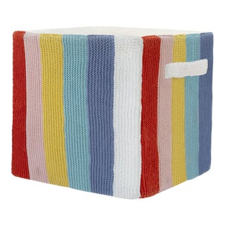"""Stripped Knitted Cotton Storage Bin Rainbow - 12"""" X 12"""" For Sale"""