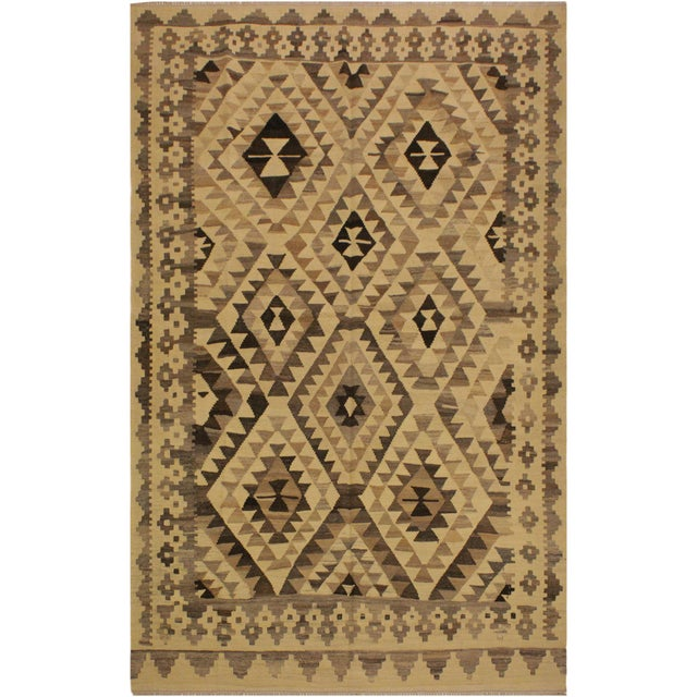 Brown Susanne Ivory/Brown Hand-Woven Kilim Wool Rug -6'0 X 7'10 For Sale - Image 8 of 8
