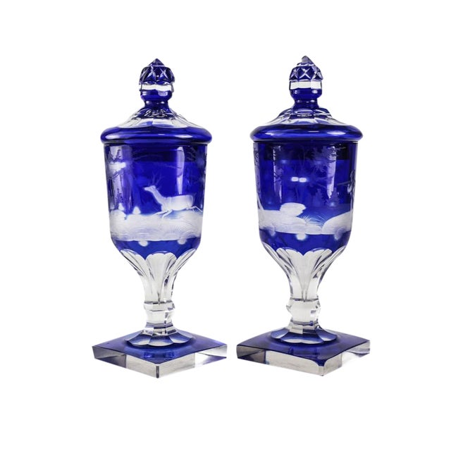 Pair Bohemian Two Layer Blue Cut Clear Glass Lidded Urns, 19th Century. Hunting Scene - Image 1 of 5