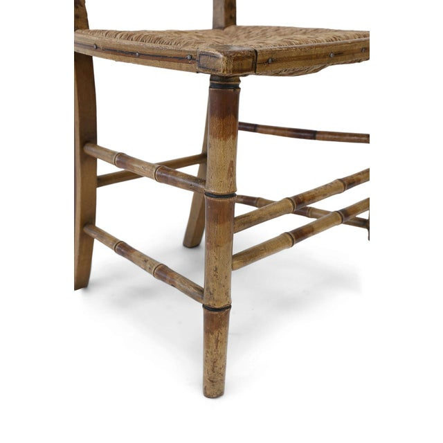Hollywood Regency Pair of Faux Bamboo Side Chairs For Sale - Image 3 of 11