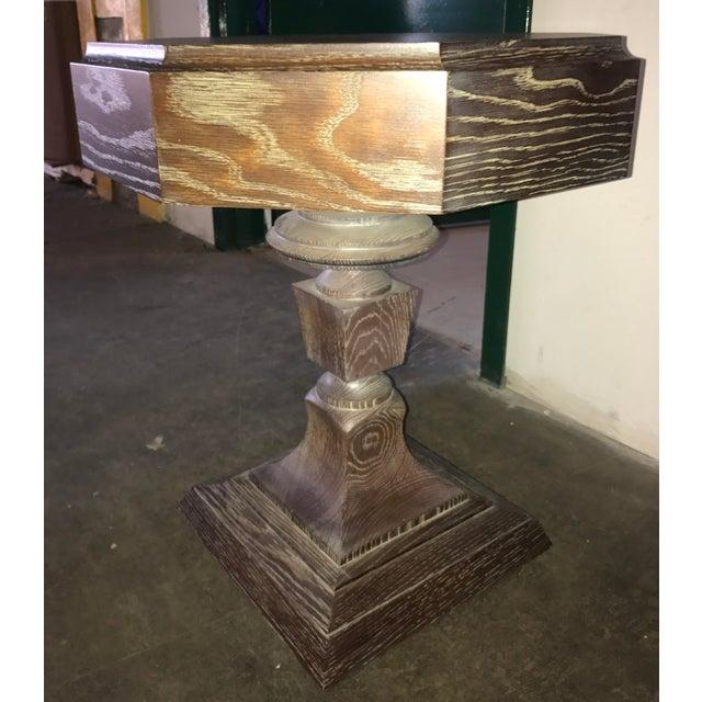Truex American Furniture Truex Brown Oak Rook Side Table For Sale - Image 4 of 4